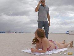 Bikini clad mom Diamond Foxxx gives car blow job