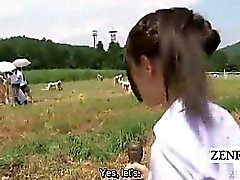 CFNM Subtitled Japon la semence en plein air de traite ranch de