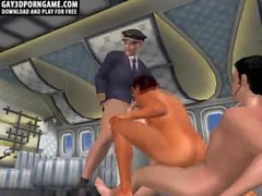 Horny 3D cartoon hunk double teamed on an airplane