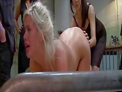 Naughty doll humped by a huge enormous throbbing cock in the ass