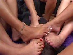 5 Brazilian Girls feet gang
