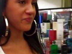 Brunette latina chick Tiffani pickedup and fucking