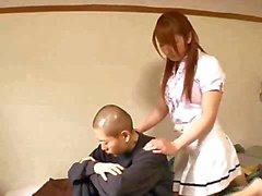 Bondaged Jap slampa blir toyed