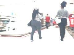 BBW Plump Ebony in Grey Spandex