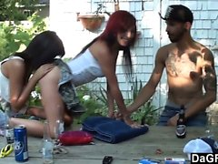 Outdoor foursome with hot french girls