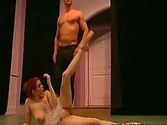 Topless ballerina deepthroats her partner on an audition