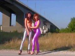 2 cute spandex girls