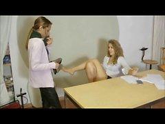 lesbian boss use lesbian foot slave