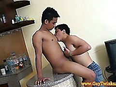 Asian twinks licking bodys and stripping