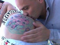 Hot tranny Morgan Bailey with tattooed ass