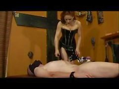 Fascinating classy hoochie with an abnormal mound, Mistress Gemini, plays with her slave
