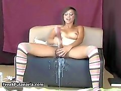 Horny teen girl erupts a huge dick