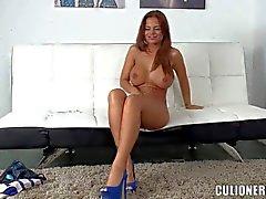 Curvy bombshell Black Angelica plays with plug