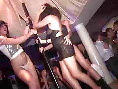 3 girls going crazy in french nightclub (strip)