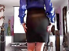 Sexy MILFs in Tight Satin Skirts