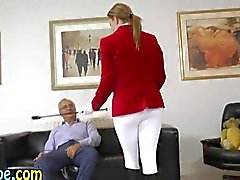 Teen fingered and sucks off her old man