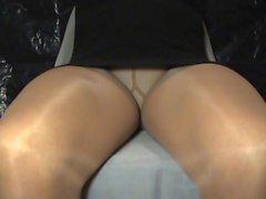 jambes crossdresser collants mini noir 060