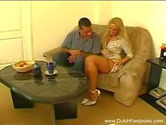 Horny Dutch Blonde Couch Bang