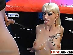 Dirty blonde whore gets fucked hard and swallows piss