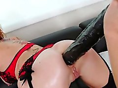 Lingerie lesbo ass toyed and rimmed