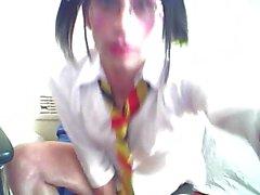 Prevert crossdresser sucks his own dick for webcam