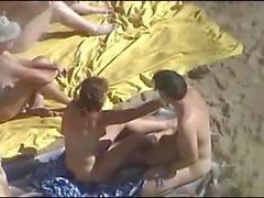 Deux, couple, plage