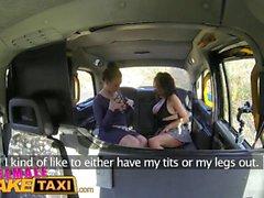 Femenino Falso Taxi Saliendo cachonda busty babe obtiene mejor oferta de orgasmo squirting