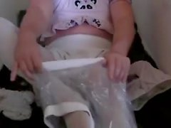 Diapered sissy peeing pantyhose and gets double diapers