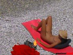 Nudist voyeur wife giving handjob on beach