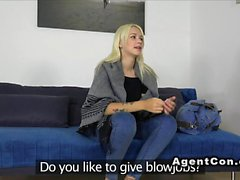 Russian blonde amateur bangs in casting