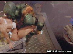 Mädchen 3D Vernichtet von Scary Monsters!