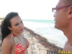 Tranny Lizzy Laynez enjoys in hard cock after day on beach