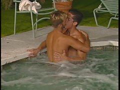 Gay studs fuck in the hot tub