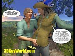 РАЗЪЕМ & бобовое дерево 3DGay Мультфильм комиксов к гомосексуалистам мотивам сказки