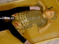 kigurumi vibrating in vacuum bed 3