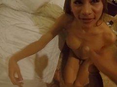Brown dick for petite Thai ladyboy prostitute P3 Facial