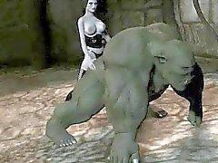 De orcs dos desenhos animados 3D fica fodido por um bebé com uma alça na