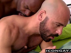 Cutler X stuffs Adam Russo bareback with his big black cock