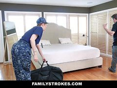FamilyStrokes - Curvy Military Wife Plowed by Stepson