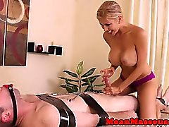 Bigtitted dom masseuse cbt restrained client