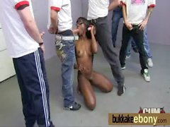 Sexy ebony gangbanged and spunked on 5
