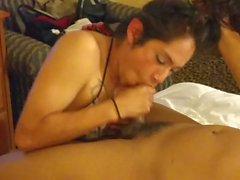 tranny Carla sucking mexican Dick