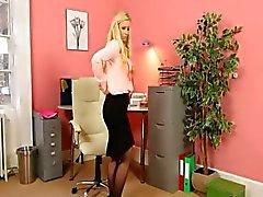 Çorap şerit sarışın sekreter