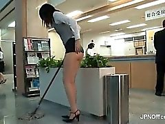 Nasty Asian babe is cleaning the office part3