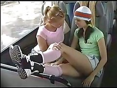Lesbian Foot Worshiping on Bus