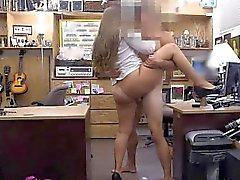 Wild Brunette Riding On Dick In The Back of A Pawn Shop