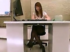 Hot secretary with sexy long legs and a splendid ass expose
