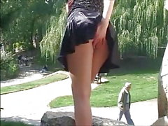 girls piss in public park