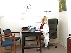 Gorgeous teen busty blonde dentist shows her boobs to a patient