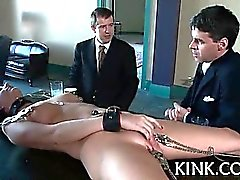 French amazing gal bound and double penetrated